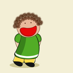 Character of a cute laughing girl in green and yellow dress.
