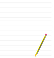 quaderno a righe con matita