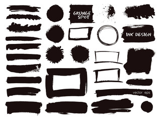 Vector set of grunge watercolor brush strokes.