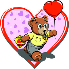 romantic lover cartoon teddy bear in heart valentine's day gift