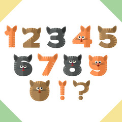 Numbers in flat design in cat's style