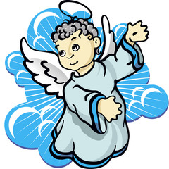 Christmas little angel with wings vector illustration in clouds