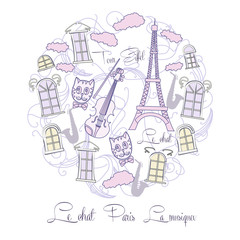 Background with music and Tour Eiffel and saxophone