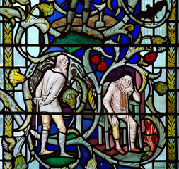 Two old men in stained glass