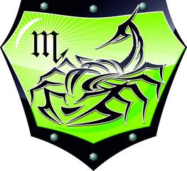 scorpion zodiac shield vector illustration