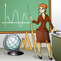 woman teacher stands at the blackboard with a globe and a ruler