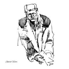 Sketch of men in a coat
