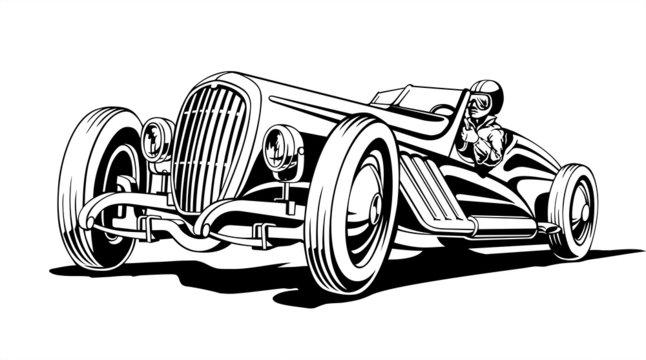 Hot classic retro sports car, roadster, vector illustration