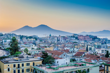 Panorama of Naples, view of roofs in and Mount Vesuvius. The pro