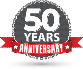Celebrating 50 years anniversary retro label with red ribbon, ve