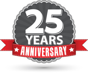 Celebrating 25 years anniversary retro label with red ribbon, ve
