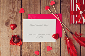 Valentine's Day greeting card mock up template