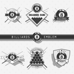 Billiards emblems - monochrome