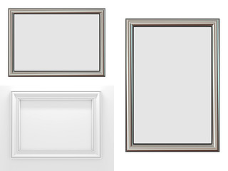 Blank Picture Frames Isolated on White.