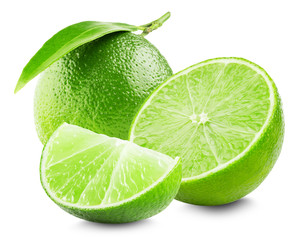 Lime with slice and leaf isolated on white background