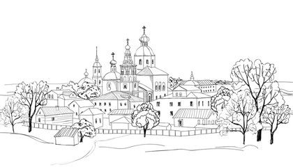 Old russian city. Sketch of view of Suzdal town. Russia