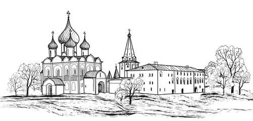 Old russian city. Suzdal Kremlin cityscape. Russia.