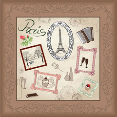 Paris icon set. France frame vintage collection. French cafe