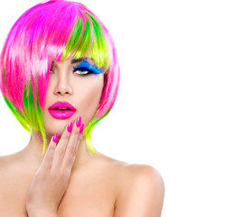 Foto op Canvas Beauty Beauty fashion model girl with colorful dyed hair