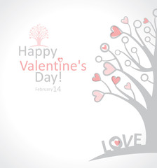 Happy Valentine's Day. love tree card.