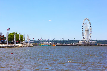 Ferris of National Harbor pier in Maryland, USA.