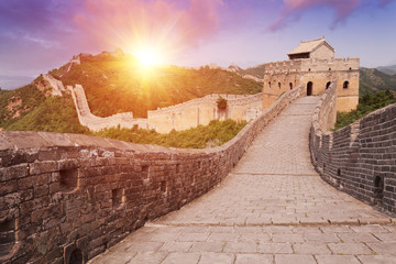 Wall Mural - skyline and great wall during sunrise