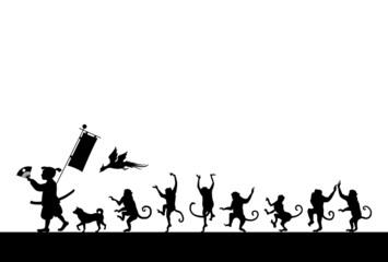 桃太郎と猿の行進