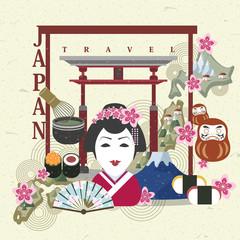 Japan travel concept in flat design