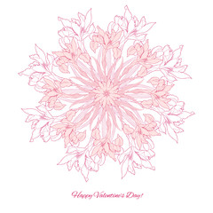 Background with ornamental round with pink  irise