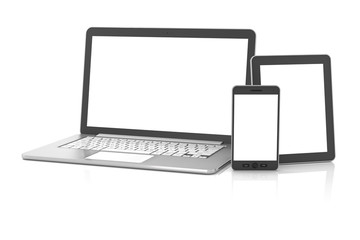 Gadgets including smartphone, smartwatch, tablet and laptop