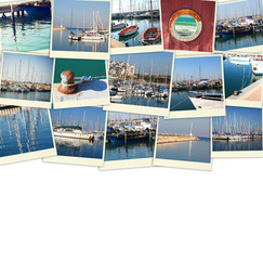 collage with yachts, boats, lighthouse and a coast. Nautical con