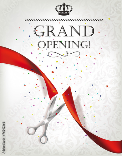 Quot Grand Opening Card With Red Ribbon And Silver Scissors