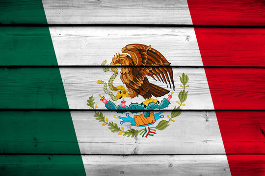 Mexico Flag on wood background