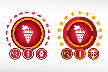 Grape icon on creative background. Red design concept for banner
