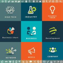 abstract business and technology vector icons set