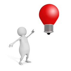 3d man pointing on red concept idea lightbulb