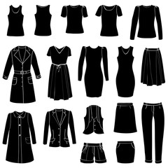 Fashion icon set. Female cloth collection. Dress silhouette.
