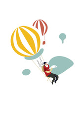 Old fisherman with fish on a hot air balloon