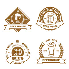Set of monochrome badge, logo and design elements for beer house