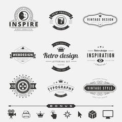 Retro Vintage Labels Logo design vector typography lettering