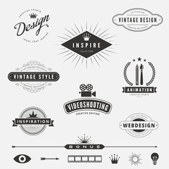 Retro Vintage Labels Logo design vector lettering inspiration