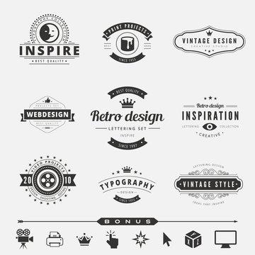 Retro Vintage Labels Logo design vector typography lettering
