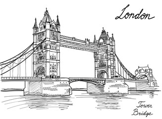 Tower Bridge, London, England, UK, Europe. Hand drawing old fashion illustration