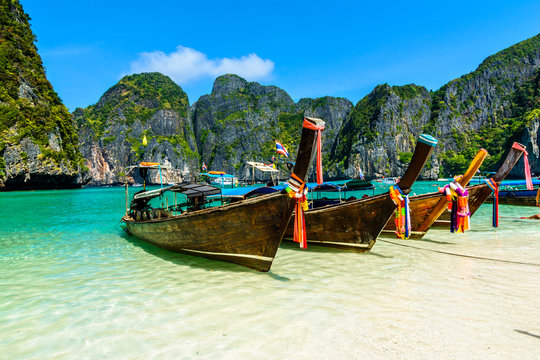 Long-tail boats in Maya Bay, Andaman sea, Thailand, South Asia