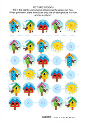 Picture sudoku puzzle with spring birdhouses