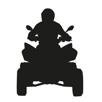 ATV rider. Vector silhouette