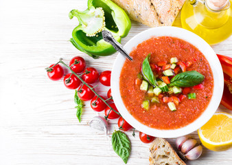 Tomato gazpacho soup with pepper and garlic, Spanish cuisine