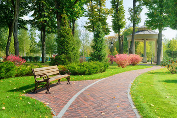 Beautiful park with bench Wall mural