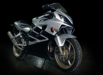 silvery  motorcycle