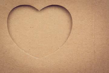 Shape of heart on cardboard